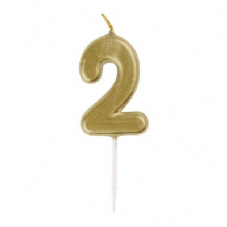 Number 2 Gold Candle